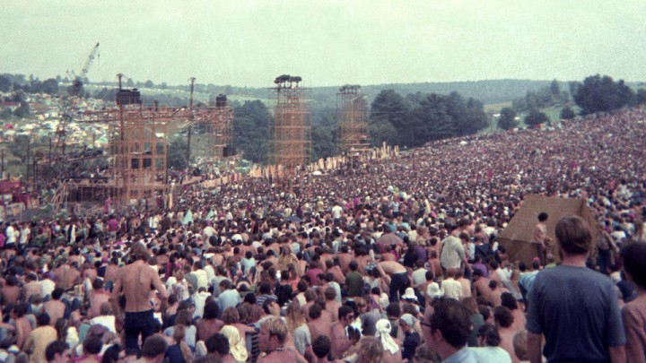 The crowd on day one of the Woodstock Festival in 1969.