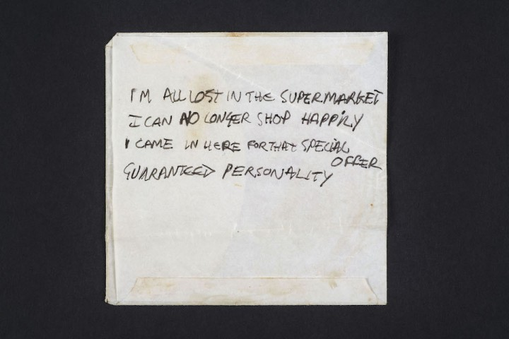 A lyric fragment in Joe Strummer's hand for the song 'Lost In The Supermarket', 1979